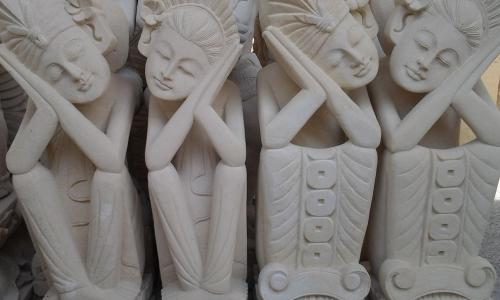Carving Stone Balinese Statues