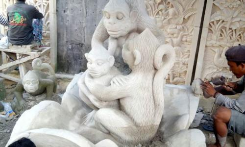 Bali Stone Monkey Statues For Sale