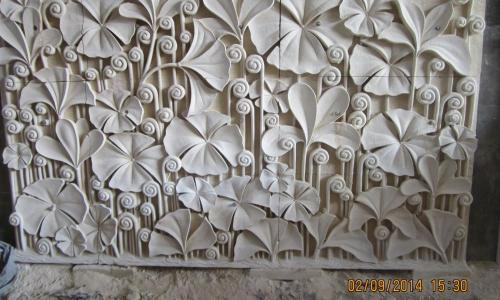 Carved Stone Wall Panel Flower