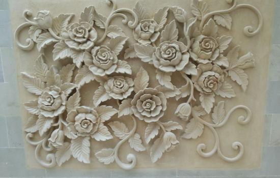 Bali Stone Wall Relief Flower